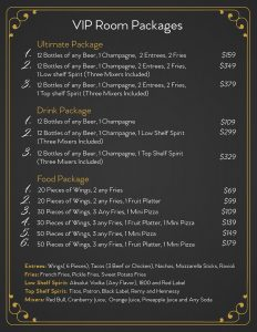 VIP Room Package Menu